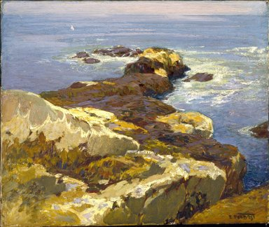 Edward Henry Potthast (American, 1857-1927). <em>Rocks and Sea</em>, ca. 1923. Oil on canvas, 20 1/16 x 24 in. (51 x 61 cm). Brooklyn Museum, A. Augustus Healy Fund, 70.101.1 (Photo: Brooklyn Museum, 70.101.1_SL1.jpg)