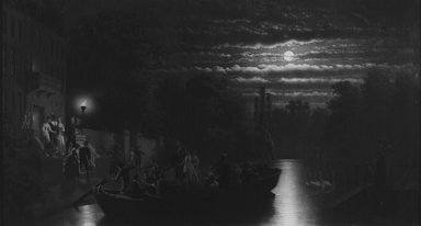Johann Mengels Culverhouse (American, born Holland, 1820-1895). <em>Moonlight Boating Party</em>, 1876. Oil on canvas, 27 7/16 x 50 13/16 in. (69.7 x 129.1 cm). Brooklyn Museum, Dick S. Ramsay Fund, 70.101.2 (Photo: Brooklyn Museum, 70.101.2_bw.jpg)