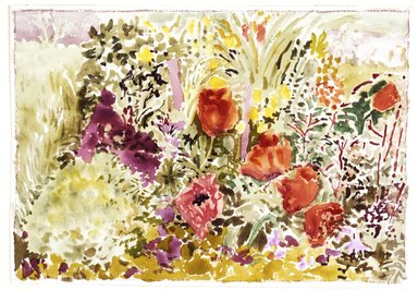 Nell Blaine (American, 1922-1996). <em>Oriental Poppies I</em>, 1969. Watercolor on paper, 14 x 20 in. (35.6 x 50.8 cm). Brooklyn Museum, Dick S. Ramsay Fund, 70.104. © artist or artist's estate (Photo: Brooklyn Museum, 70.104_SL4.jpg)