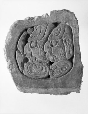 Maya. <em>Panel</em>, ca. 600-700. Stucco, pigment, 9 1/2 x 8 3/4 in. (24.1 x 22.2 cm). Brooklyn Museum, Gift of David R. Markin, 70.107.8. Creative Commons-BY (Photo: Brooklyn Museum, 70.107.8_bw.jpg)