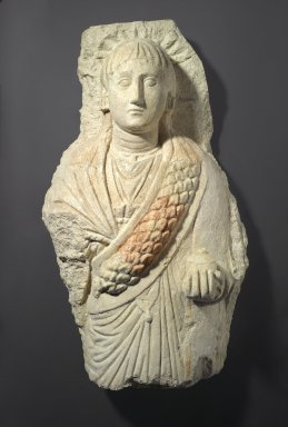 Coptic. <em>Funerary Figure of a Woman</em>, 3rd-4th century C.E. Limestone, gesso, pigment, 34 5/8 x 20 1/16 x 11 13/16 in. (88 x 51 x 30 cm). Brooklyn Museum, Charles Edwin Wilbour Fund, 70.132. Creative Commons-BY (Photo: Brooklyn Museum, 70.132_PS1.jpg)