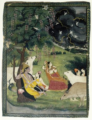 Indian. <em>Krishna and Radha under a Tree in a Storm</em>, ca. 1790-early 19th century. Opaque watercolor and gold on paper, sheet: 9 x 6 3/4 in.  (22.9 x 17.1 cm). Brooklyn Museum, Ella C. Woodward Memorial Fund, 70.145.1 (Photo: Brooklyn Museum, 70.145.1_IMLS_SL2.jpg)