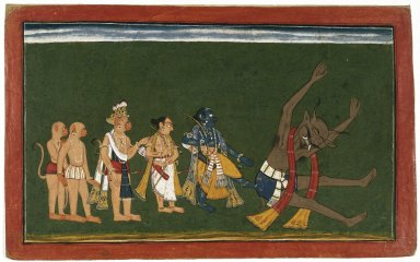 "Indian. <em>Rama Kicks the Body of Dundubhi, page from an illustrated manuscript of the Ramayana (the ""Shangri"" Ramayana)</em>, ca. 1700-1710. Opaque watercolor, silver, and gold on paper, sheet: 8 5/8 x 13 7/8 in.  (21.9 x 35.2 cm). Brooklyn Museum, Ella C. Woodward Memorial Fund, 70.145.2 (Photo: Brooklyn Museum, 70.145.2_front_IMLS_SL2.jpg)"