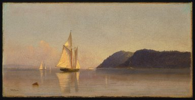 Francis Augustus Silva (American, 1835-1886). <em>Boats on the Hudson</em>, ca. 1874-1878. Oil on canvas, 9 x 18 in. (22.9 x 45.7 cm). Brooklyn Museum, A. Augustus Healy Fund, 70.150 (Photo: Brooklyn Museum, 70.150_SL1.jpg)