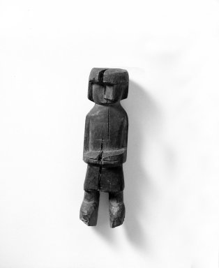 Kuna. <em>Figure of Woman</em>. Wood, H: 8 5/8 in. (21.9 cm). Brooklyn Museum, Gift of Mr. and Mrs. Cedric H. Marks, 70.154.3. Creative Commons-BY (Photo: Brooklyn Museum, 70.154.3_bw.jpg)