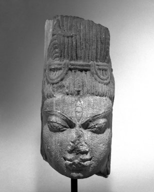 Post-Gupta. <em>Mukhalinga Sculpture</em>, 7th century. Gray Sandstone, 12 1/2 in. (31.8 cm). Brooklyn Museum, Gift of Michael de Havenon, 70.172. Creative Commons-BY (Photo: Brooklyn Museum, 70.172_bw.jpg)