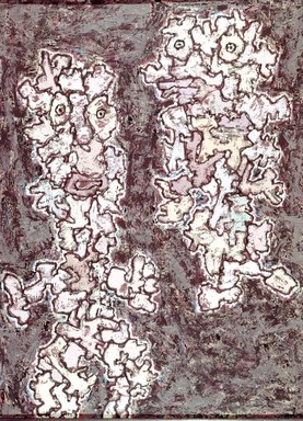 Jean Dubuffet (French, 1901-1985). <em>Le Messager</em>, 1961. Oil on canvas, 45 11/16 x 35 1/16 in. (116 x 89.1 cm). Brooklyn Museum, Gift of Mr. and Mrs. Richard Rodgers, 70.176.1. © artist or artist's estate (Photo: Brooklyn Museum, 70.176.1_SL4.jpg)