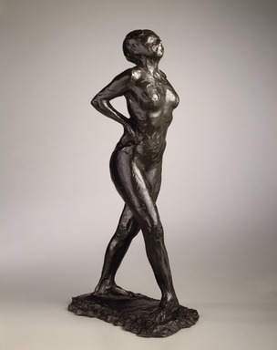 Edgar Degas (French, 1834-1917). <em>Dancer at Rest, Hands Behind Her Back, Right Leg Forward (Danseuse au repos, les mains sur les hanches, jambe droite en avant, première étude)</em>, modeled 1882-1895, cast 1919-1932. Bronze, 17 7/8 x 6 x 9 1/2 in.  (45.4 x 15.2 x 24.1 cm). Brooklyn Museum, Gift of Mr. and Mrs. Richard Rodgers, 70.176.5. Creative Commons-BY (Photo: Brooklyn Museum, 70.176.5_SL3.jpg)