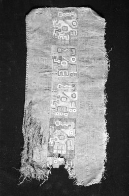 Coastal Wari (attrib by Nobuko Kajatani, 1993). <em>Mantle, Fragment</em>, 600-1000 C.E. Cotton, camelid fiber, 6 5/16 x 13 in. (16 x 33 cm). Brooklyn Museum, Gift of Ernest Erickson, 70.177.11. Creative Commons-BY (Photo: Brooklyn Museum, 70.177.11_cropped_bw_IMLS.jpg)