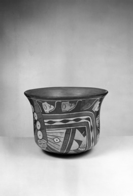 Nazca. <em>Bowl</em>, 300 B.C.E.-500 C.E. Ceramic, pigment, 5 13/16 x 5 13/16 in. (14.8 x 14.8 cm). Brooklyn Museum, Gift of Ernest Erickson, 70.177.17. Creative Commons-BY (Photo: Brooklyn Museum, 70.177.17_acetate_bw.jpg)