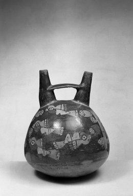 Nazca. <em>Ceramic Stirrup Jar</em>. Ceramic, Height: 6 15/16 in. (17.6 cm). Brooklyn Museum, Gift of Ernest Erickson, 70.177.19. Creative Commons-BY (Photo: Brooklyn Museum, 70.177.19_acetate_bw.jpg)