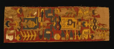 Nazca. <em>Mantle, Fragment</em>, 200-600 C.E. Cotton, camelid fiber, 5 1/2 x 16 9/16 in. (14 x 42 cm). Brooklyn Museum, Gift of Ernest Erickson, 70.177.51. Creative Commons-BY (Photo: Brooklyn Museum, 70.177.51_SL1.jpg)