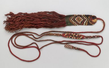 Coastal Wari (attrib by Nobuko Kajatani, 1993). <em>Sling</em>, 650-1000. Camelid fiber, 2 1/2 x 1 x 99 in. (6.4 x 2.5 x 251.5 cm). Brooklyn Museum, Gift of Ernest Erickson, 70.177.62. Creative Commons-BY (Photo: Brooklyn Museum, 70.177.62_PS6.jpg)