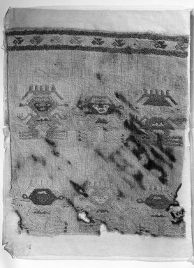 Chimú (attrib by Nobuko Kajatani and Anne Rowe, 1993). <em>Textile Fragment, Unascertainable (NK) or Mantle, Fragment or Hanging, Fragment (AR)</em>, 1400-1532. Cotton, camelid fiber, 14 9/16 x 16 1/8 in. (37 x 41 cm). Brooklyn Museum, Gift of Ernest Erickson, 70.177.63. Creative Commons-BY (Photo: Brooklyn Museum, 70.177.63_acetate_bw.jpg)