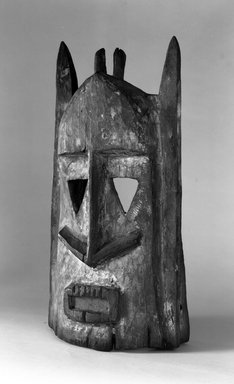 Dogon. <em>Sagana Mask for Dama Ceremony</em>, late 19th or early 20th century. Wood, pigment, 14 1/4 x 6 3/4 x 5 1/4 in. (36.2 x 17.2 x 13.4 cm). Brooklyn Museum, Gift of Lester Wunderman, 70.178.1. Creative Commons-BY (Photo: Brooklyn Museum, 70.178.1_bw.jpg)