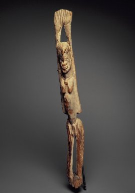 Dogon. <em>Standing Figure with Arms Raised</em>, 15th-17th century. Wood, accumulated materials, 30 1/2 x 3 1/4 x 4 3/4 in. (77.4 x 8.3 x 12.1 cm). Brooklyn Museum, Gift of Lester Wunderman, 70.178.5. Creative Commons-BY (Photo: Brooklyn Museum, 70.178.5.jpg)