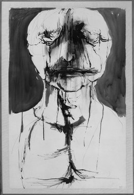 Leonard Baskin (American, 1922-2000). <em>Blake, Near Death</em>, 1960. India ink and charcoal on paper, 40 x 26 in. (101.6 x 66 cm). Brooklyn Museum, Gift of Dr. and Mrs. Milton M. Gardner, 70.180. © artist or artist's estate (Photo: Brooklyn Museum, 70.180_bw.jpg)