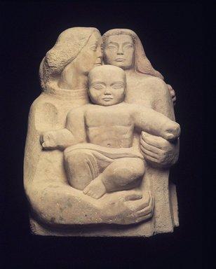 William Zorach (American, born Lithuania, 1887-1966). <em>Wisdom of Solomon</em>, 1963-1966. Sandstone, Sight 39 x 31 in. Brooklyn Museum, Bequest of Lester F. Avnet, 70.187. © artist or artist's estate (Photo: Brooklyn Museum, 70.187.jpg)