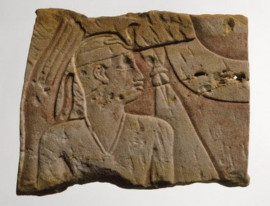 Egyptian. <em>Temple Relief of a King as a Child Protected by a Goddess</em>, ca. 700-670 B.C.E. Sandstone, pigment, 9 7/16 x 7 1/2 x 1 7/16 in. (24 x 19 x 3.7 cm). Brooklyn Museum, Charles Edwin Wilbour Fund, 70.1. Creative Commons-BY (Photo: Brooklyn Museum, 70.1_SL1.jpg)