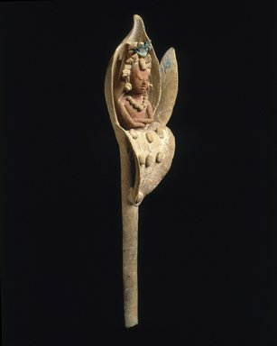 Maya. <em>Figure Emerging from a Waterlily</em>, 600-900. Ceramic, pigment, 8 1/4 x 2 1/8 x 1 11/16 in. (21 x 5.4 x 4.3 cm). Brooklyn Museum, Dick S. Ramsay Fund, 70.31. Creative Commons-BY (Photo: Brooklyn Museum, 70.31_SL1.jpg)