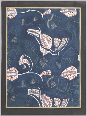 Marguerite Thompson Zorach (American, 1887-1968). <em>(Semi-abstract Floral Designs - White on Navy Blue Background)</em>, n.d. Watercolor on paper mounted to tan paper and then mounted to black paper, Sheet (watercolor): 12 1/8 x 8 15/16 in. (30.8 x 22.7 cm). Brooklyn Museum, Gift of Mr. and Mrs. Tessim Zorach, 70.35.10. © artist or artist's estate (Photo: Brooklyn Museum, 70.35.10_PS9.jpg)