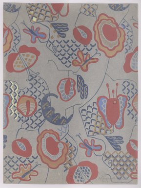 Marguerite Thompson Zorach (American, 1887-1968). <em>(Semi-abstract Floral Design on Gray Background)</em>, 1919. Watercolor on gray wove paper, Sheet: 12 x 9 in. (30.5 x 22.9 cm). Brooklyn Museum, Gift of Mr. and Mrs. Tessim Zorach, 70.35.13. © artist or artist's estate (Photo: Brooklyn Museum, 70.35.13_PS9.jpg)