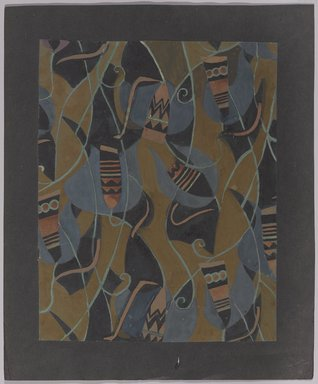 Marguerite Thompson Zorach (American, 1887-1968). <em>(Abstract Design on Khaki Background)</em>, 20th century. Watercolor on paper mounted to black backing paper, Sheet (watercolor): 11 1/16 x 8 7/8 in. (28.1 x 22.5 cm). Brooklyn Museum, Gift of Mr. and Mrs. Tessim Zorach, 70.35.6. © artist or artist's estate (Photo: Brooklyn Museum, 70.35.6_PS9.jpg)