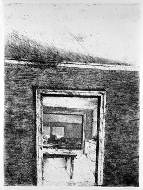 Robert Birmelin (American, born 1933). <em>Looking Through</em>, 1969-1970. Etching on paper, 29 7/8 x 22 in. (75.9 x 55.9 cm). Brooklyn Museum, Charles Stewart Smith Memorial Fund, 70.39. © artist or artist's estate (Photo: Brooklyn Museum, 70.39_bw.jpg)