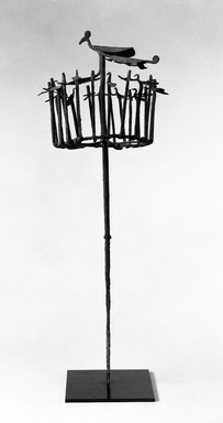 Yorùbá. <em>Osanyin Staff Topped by Abstract Figure of a Bird</em>, 19th or 20th century. Iron, 25 5/8 in. (65.1 cm)(without metal base). Brooklyn Museum, Gift of Elliot Picket, 70.72.6. Creative Commons-BY (Photo: Brooklyn Museum, 70.72.6_bw.jpg)
