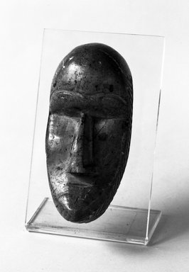 Loma. <em>Personal Miniature Mask</em>, late 19th or early 20th century. Soapstone, 4 1/2 in. (11.4 cm). Brooklyn Museum, Gift of Merton D. Simpson to the Jennie Simpson Educational Collection of African Art, 70.73.2. Creative Commons-BY (Photo: Brooklyn Museum, 70.73.2_bw.jpg)
