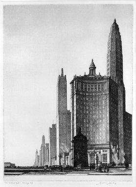 Gerald K. Geerlings (American, 1897-1998). <em>The Vertical Mile</em>, 1933. Etching, Plate: 12 1/4 x 9 in. (31.1 x 22.9 cm). Brooklyn Museum, Gift in memory of Clarence John Marsman, 70.75.27 (Photo: Brooklyn Museum, 70.75.27_bw.jpg)