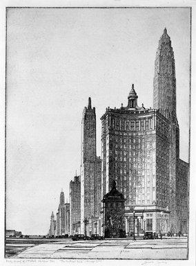 Gerald K. Geerlings (American, 1897-1998). <em>The Vertical Mile</em>, 1932. Etching, Plate: 12 1/2 x 9 in. (31.8 x 22.9 cm). Brooklyn Museum, Gift in memory of Clarence John Marsman, 70.75.30 (Photo: Brooklyn Museum, 70.75.30_bw.jpg)