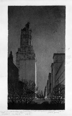 Gerald K. Geerlings (American, 1897-1998). <em>Black Magic</em>, 1929. Etching, aquatint, Plate: 12 x 6 5/8 in. (30.5 x 16.8 cm). Brooklyn Museum, Gift in memory of Clarence John Marsman, 70.75.37 (Photo: Brooklyn Museum, 70.75.37_bw.jpg)