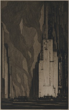Gerald K. Geerlings (American, 1897-1998). <em>Up and Going  (New York)</em>, 1931. Etching and aquatint on laid paper, sheet: 17 13/16 × 11 1/8 in. (45.2 × 28.3 cm). Brooklyn Museum, Gift in memory of Clarence John Marsman, 70.75.6 (Photo: Brooklyn Museum, 70.75.6_PS9.jpg)