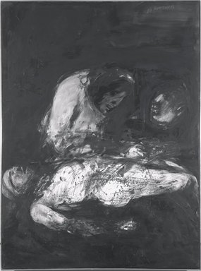 Miriam Beerman (American, born 1923). <em>Death of Marat</em>, 1968. Oil on canvas, 74 1/2 x 54 1/4 in. (189.2 x 137.8 cm). Brooklyn Museum, Gift of Miriam Beerman, 70.8. © artist or artist's estate (Photo: Brooklyn Museum, 70.8_bw.jpg)