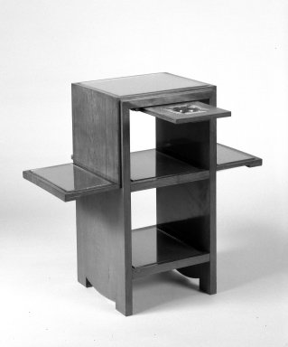 <em>Smoker's Stand</em>, ca. 1930. Palisander veneer over hardwood, 24 x 25 1/4 x 12 in. (61 x 64.1 x 30.5 cm). Brooklyn Museum, Gift of Raymond Worgelt, 70.96.10a-c. Creative Commons-BY (Photo: Brooklyn Museum, 70.96.10a-c_bw.jpg)