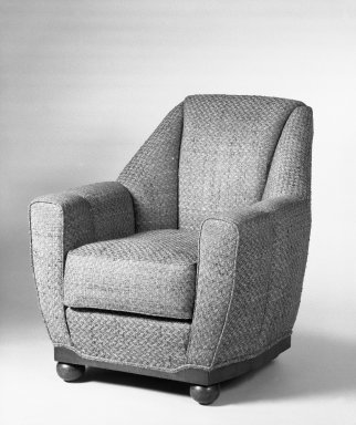 <em>Armchair, One of Pair</em>, ca. 1930. Upholstery, hardwood veneered in palisander, 37 1/2 x 33 1/2 x 36 in. (95.3 x 85.1 x 91.4 cm). Brooklyn Museum, Gift of Raymond Worgelt, 70.96.2. Creative Commons-BY (Photo: Brooklyn Museum, 70.96.2_bw.jpg)