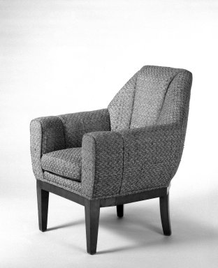 <em>Armchair, One of Pair</em>, ca.1930. Woven patterned cotton, 34 1/4 x 27 x 28 in. (87 x 68.6 x 71.1 cm). Brooklyn Museum, Gift of Raymond Worgelt, 70.96.4. Creative Commons-BY (Photo: Brooklyn Museum, 70.96.4_bw.jpg)
