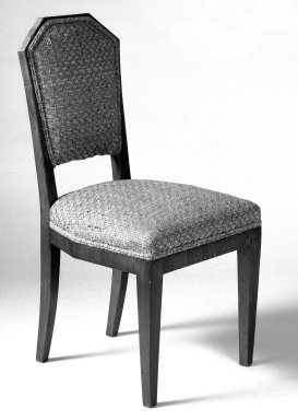 <em>Side Chair, One of Pair</em>, ca. 1930. Hardwood veneered in palisander, woven patterned cotton, 34 1/2 x 17 1/4 x 21 in. (87.6 x 43.8 x 53.3 cm). Brooklyn Museum, Gift of Raymond Worgelt, 70.96.6. Creative Commons-BY (Photo: Brooklyn Museum, 70.96.6_bw.jpg)
