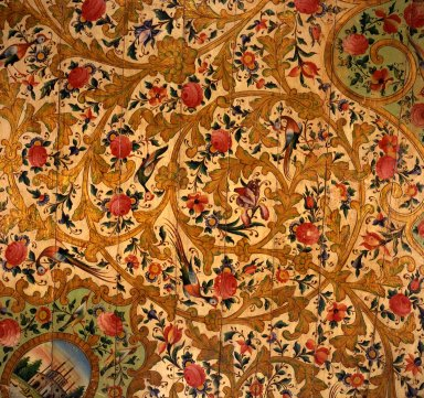 <em>Section of a Ceiling from the Narinjistan Mansion</em>, ca. 1870. Polychrome and metallic pigments on wood, from Curatorial catalogue card: 46 1/2 x 59 in. (118.1 x 149.9 cm). Brooklyn Museum, Carll H. de Silver Fund, 70.97.4a. Creative Commons-BY (Photo: , 70.97.1-.4a_view1.jpg)