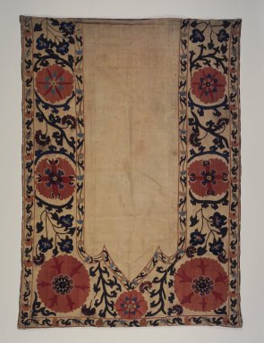 <em>Prayer Hanging</em>, 19th century. Silk, linen, 36 15/16 x 52 3/16 in. (93.8 x 132.5 cm). Brooklyn Museum, Special Middle Eastern Art Fund, 71.1. Creative Commons-BY (Photo: Brooklyn Museum, 71.1.jpg)