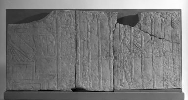 <em>Relief with a Servant Making theTomb Owner's Bed</em>, ca. 2350-2170 B.C.E. Limestone, 17 x 1 3/16 x 36 3/4 in. (43.2 x 3 x 93.3 cm). Brooklyn Museum, Charles Edwin Wilbour Fund, 71.10.1a-d. Creative Commons-BY (Photo: Brooklyn Museum, 71.10.1ad_negA_bw_IMLS.jpg)