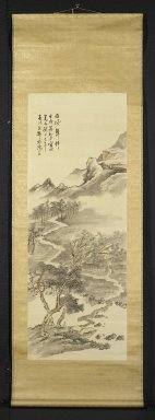 Hine Taizan (Japanese, 1813-1869). <em>Landscape with Fenced in Garden</em>, 1862. Hanging scroll, ink and color on silk, Image: 53 1/8 x 19 3/4 in. (134.9 x 50.2 cm). Brooklyn Museum, Gift of Dr. and Mrs.  Frederick Baekeland, 71.117 (Photo: Brooklyn Museum, 71.117_PS2.jpg)