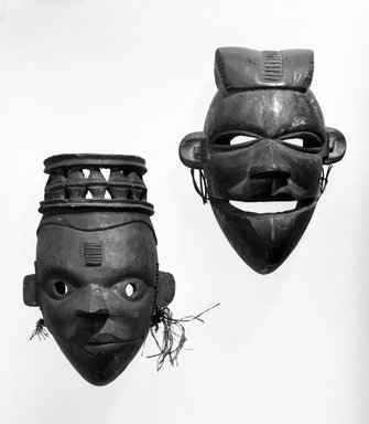 Ogoni. <em>Mask with Hinged Jaw</em>, early 20th century. Wood, reed, 8 x 5 x 4 3/4 in. (20.3 x 12.8 x 12.1 cm). Brooklyn Museum, Gift of Ruth R. Gross, 71.176.1. Creative Commons-BY (Photo: , 71.126_71.176.1_bw.jpg)