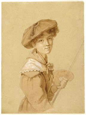 Attributed to Eugénie Tripier-Le-Franc (French, 1805-1872). <em>Portrait of Eugénie Tripier-Le-Franc (Portrait d'Eugénie Tripier-Le-Franc), or Self-Portrait</em>, 1820-1829. Brown ink, graphite, and white opaque watercolor on wove paper, Sheet: 6 9/16 × 4 15/16 in. (16.7 × 12.5 cm). Brooklyn Museum, Gift of Louis Thomas, 71.138.10 (Photo: Brooklyn Museum, 71.138.10_SL3.jpg)