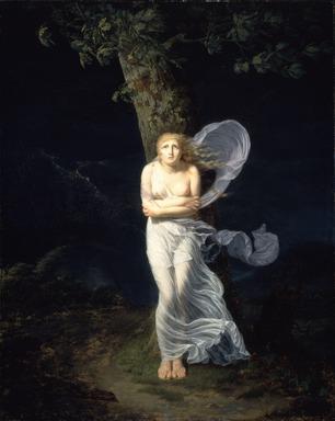 Chevalier Féréol de Bonnemaison (French, ca. 1770-1827). <em>Young Woman Overtaken by a Storm (Une Jeune Femme s'étant Avancée dans la Campagne se Trouve Surprise par l'orage)</em>, 1799. Oil on canvas, 39 3/8 x 31 11/16 in. (100 x 80.5 cm). Brooklyn Museum, Gift of Louis Thomas, 71.138.1 (Photo: Brooklyn Museum, 71.138.1_SL4.jpg)