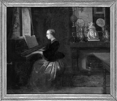 Attributed to Florent Willems (Belgian, 1823-1925). <em>Woman at a Piano</em>, n.d. Oil on canvas, 18 5/16 x 21 15/16 in. (46.5 x 55.7 cm). Brooklyn Museum, Gift of Louis Thomas, 71.138.2 (Photo: Brooklyn Museum, 71.138.2_framed_bw.jpg)