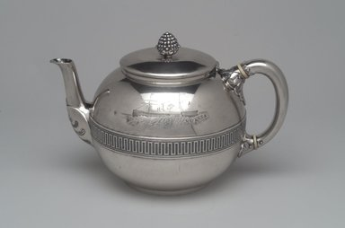 Tiffany & Company (American, founded 1853). <em>Tea Pot</em>, ca. 1868. Silver, bone or ivory, 6 x 9 3/8 x 6 in. (15.2 x 23.8 x 15.2 cm). Brooklyn Museum, Gift of Eleanor Keveney in memory of Clarence A. Pratt, 71.144.2. Creative Commons-BY (Photo: Brooklyn Museum, 71.144.2_left.jpg)