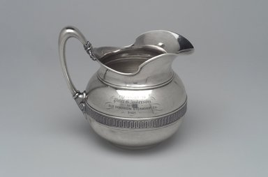 Tiffany & Company (American, founded 1853). <em>Cream Pitcher</em>, ca. 1868. Silver, 5 3/4 x 5 3/8 x 4 in. (14.6 x 13.7 x 10.2 cm). Brooklyn Museum, Gift of Eleanor Keveney in memory of Clarence A. Pratt, 71.144.5. Creative Commons-BY (Photo: Brooklyn Museum, 71.144.5_right.jpg)