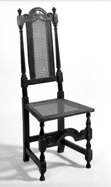 <em>Side Chair</em>, ca. 1680-1700. Beech, cane, Overall height: 45 1/4 in. (114.9 cm). Brooklyn Museum, H. Randolph Lever Fund, 71.149.2. Creative Commons-BY (Photo: Brooklyn Museum, 71.149.2_bw.jpg)